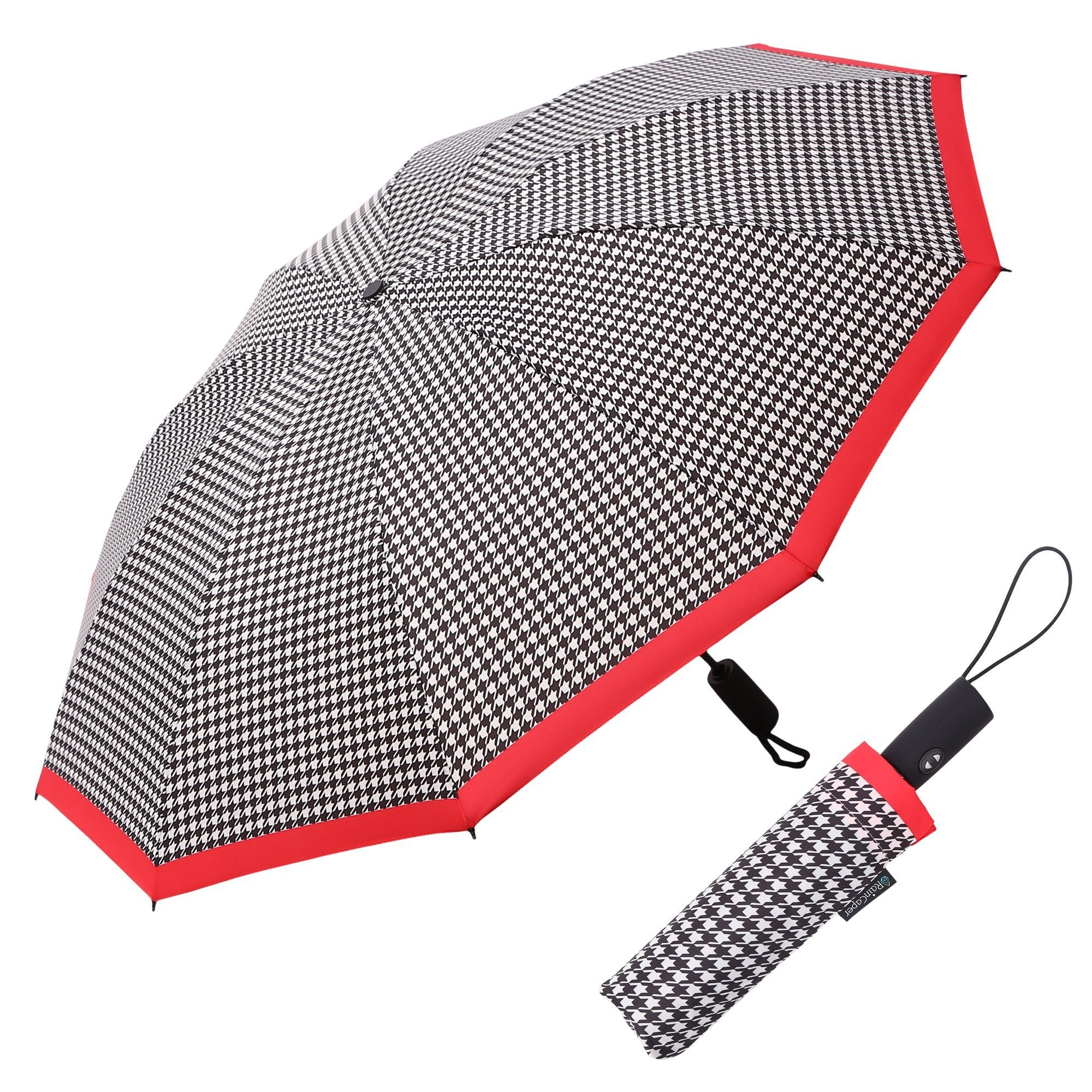 Image of a RainCaper Crimson/Black & White Houndstooth folded traveling umbrella shown both open and closed