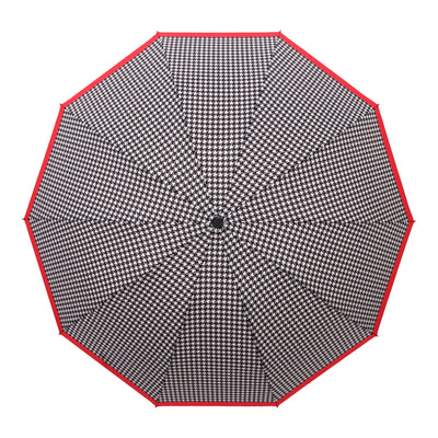 RainCaper Crimson/Black & White Houndstooth Folding Travel Umbrella
