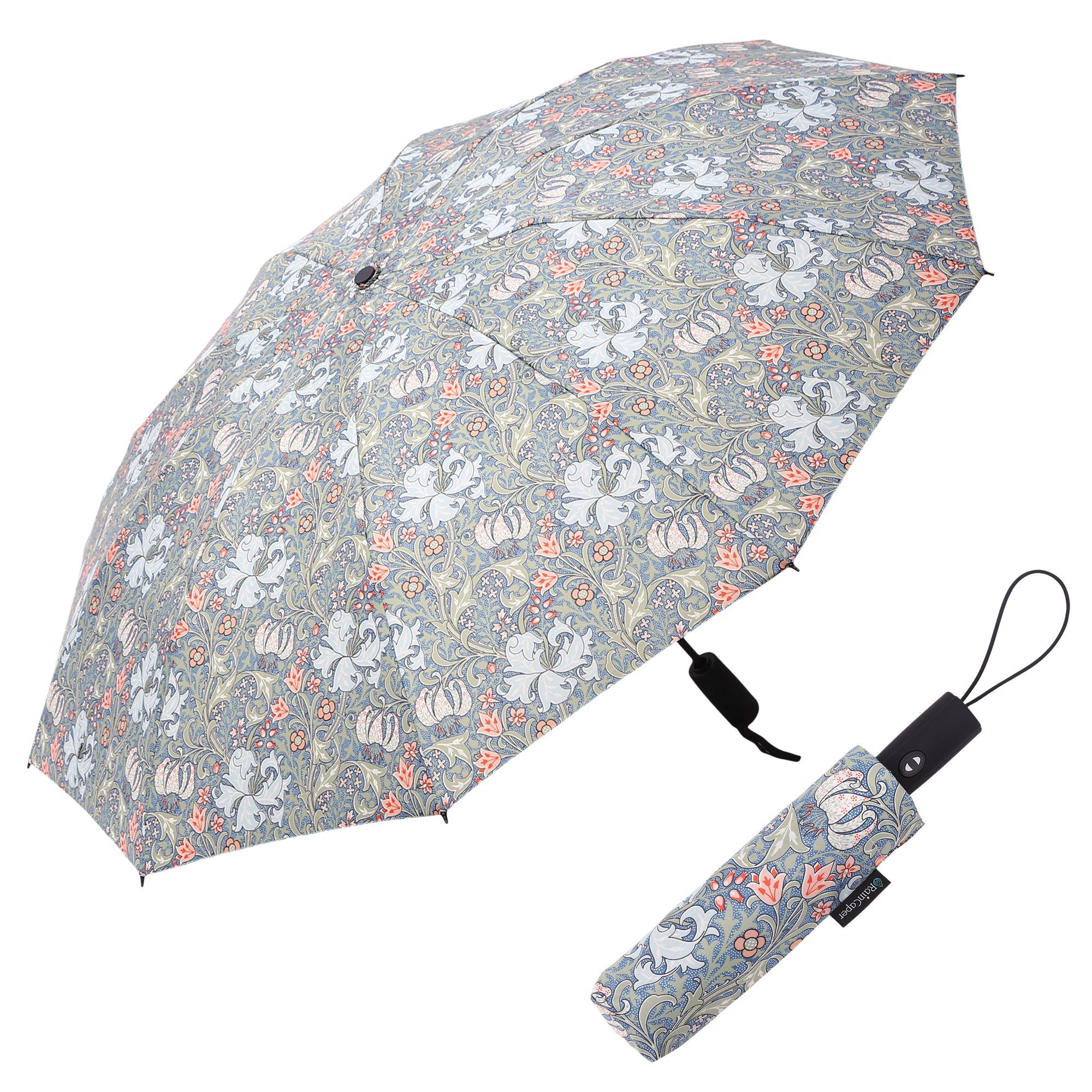 Image of a RainCaper William Morris Lily folded traveling umbrella shown both open and closed