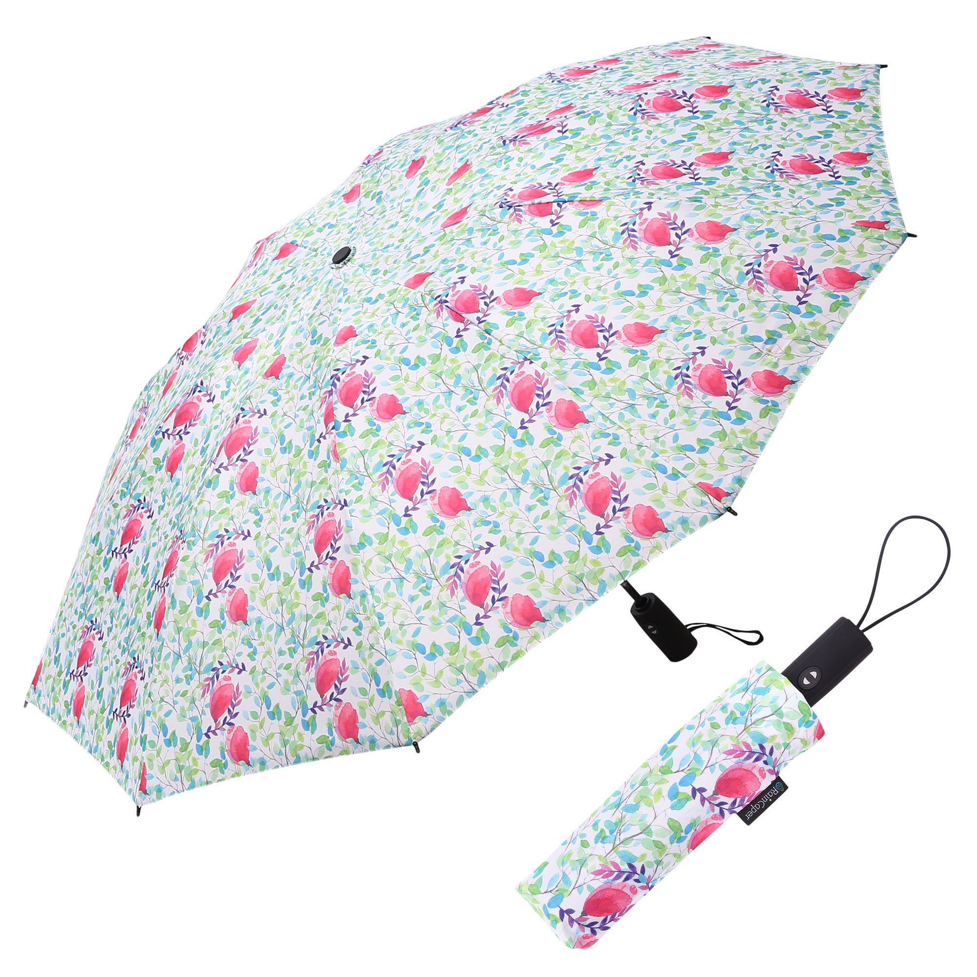 Image of a RainCaper Spring Watercolor folded traveling umbrella shown both open and closed