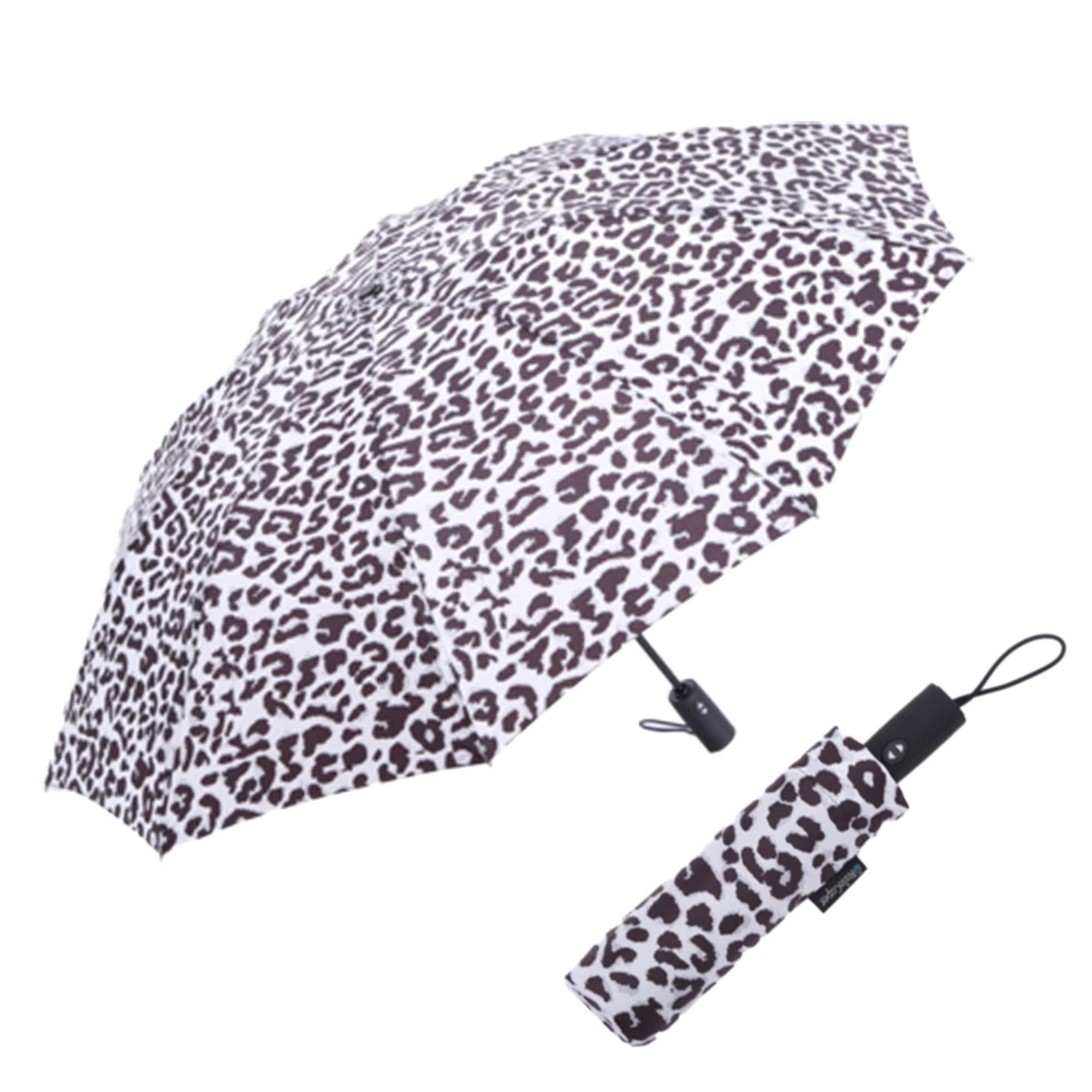 Image of a RainCaper Black & White Animal Print folded traveling umbrella shown both open and closed