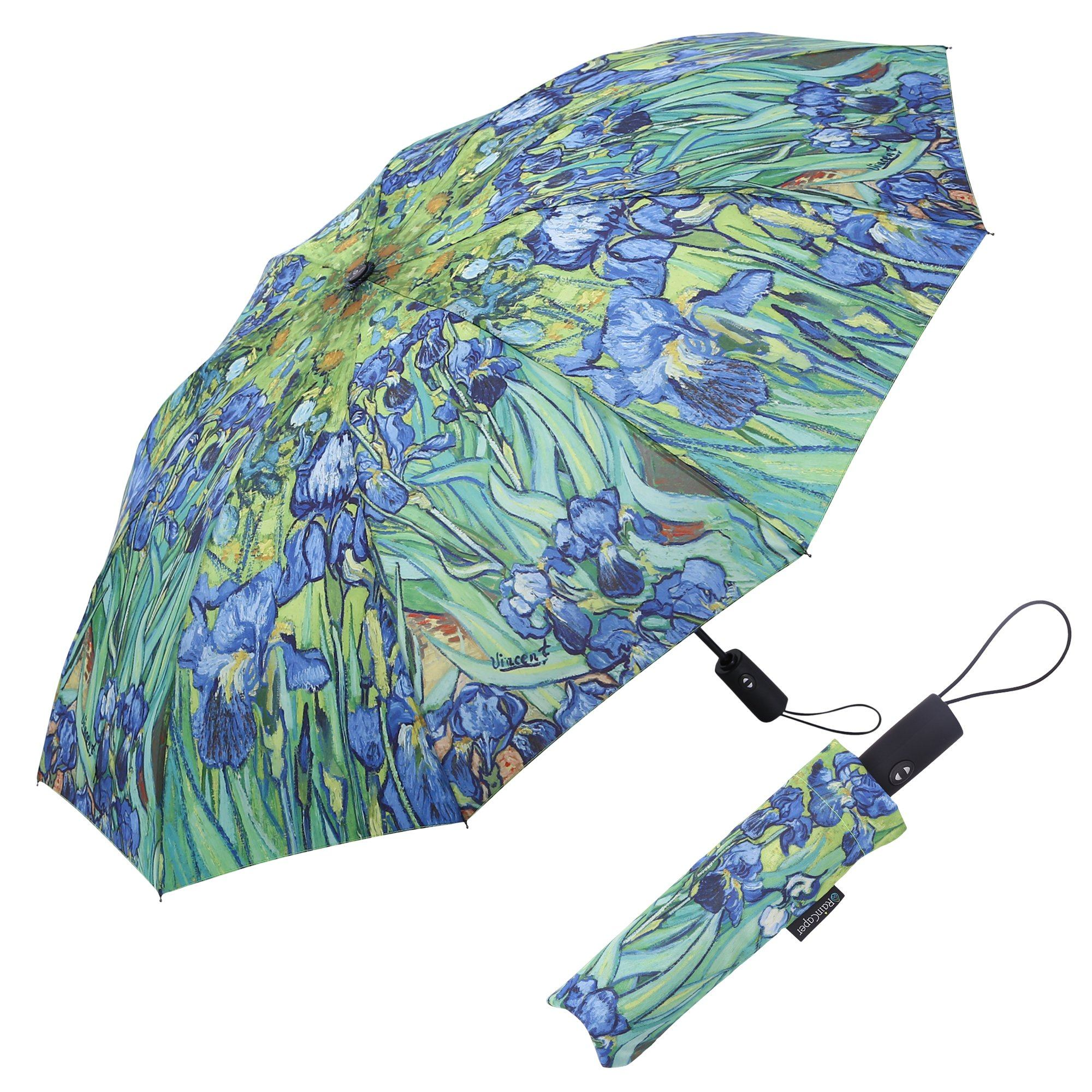 Image of a RainCaper van Gogh Irises folded traveling umbrella shown both open and closed