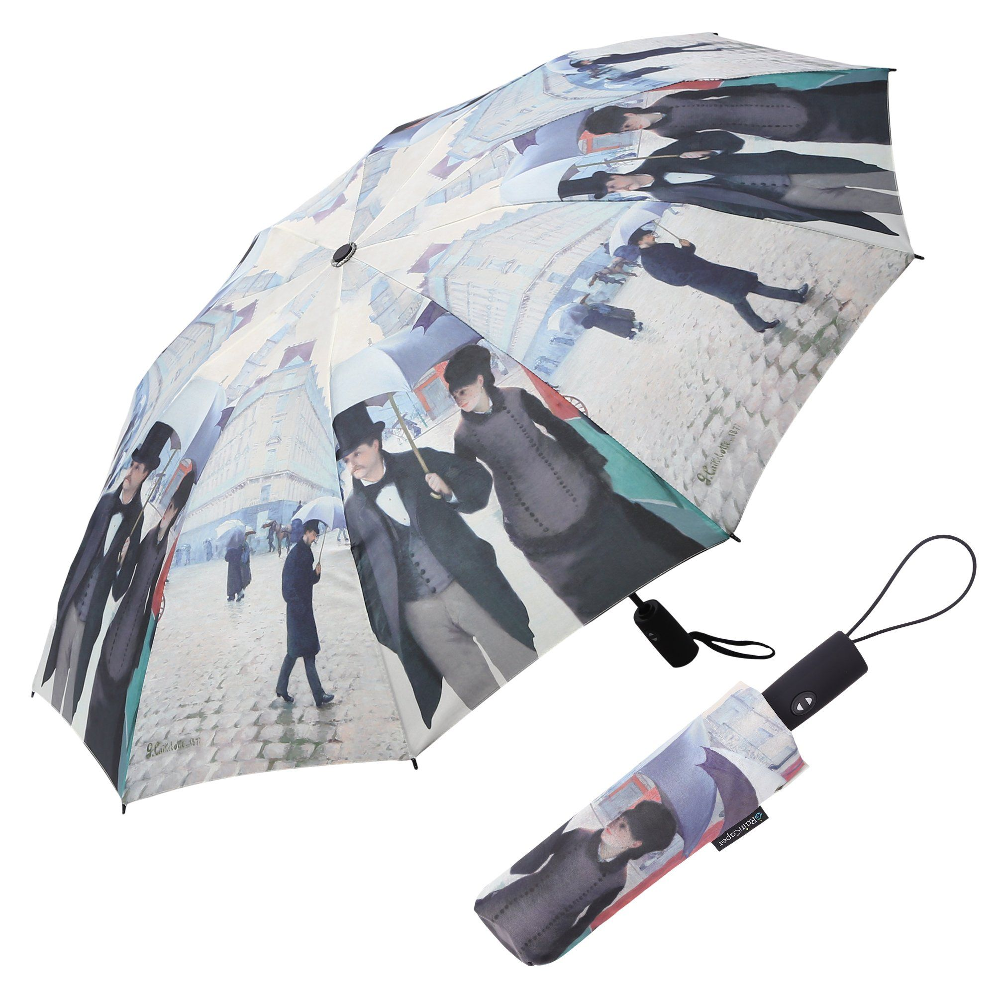 Image of a RainCaper Caillebotte Paris Street folded traveling umbrella shown both open and closed