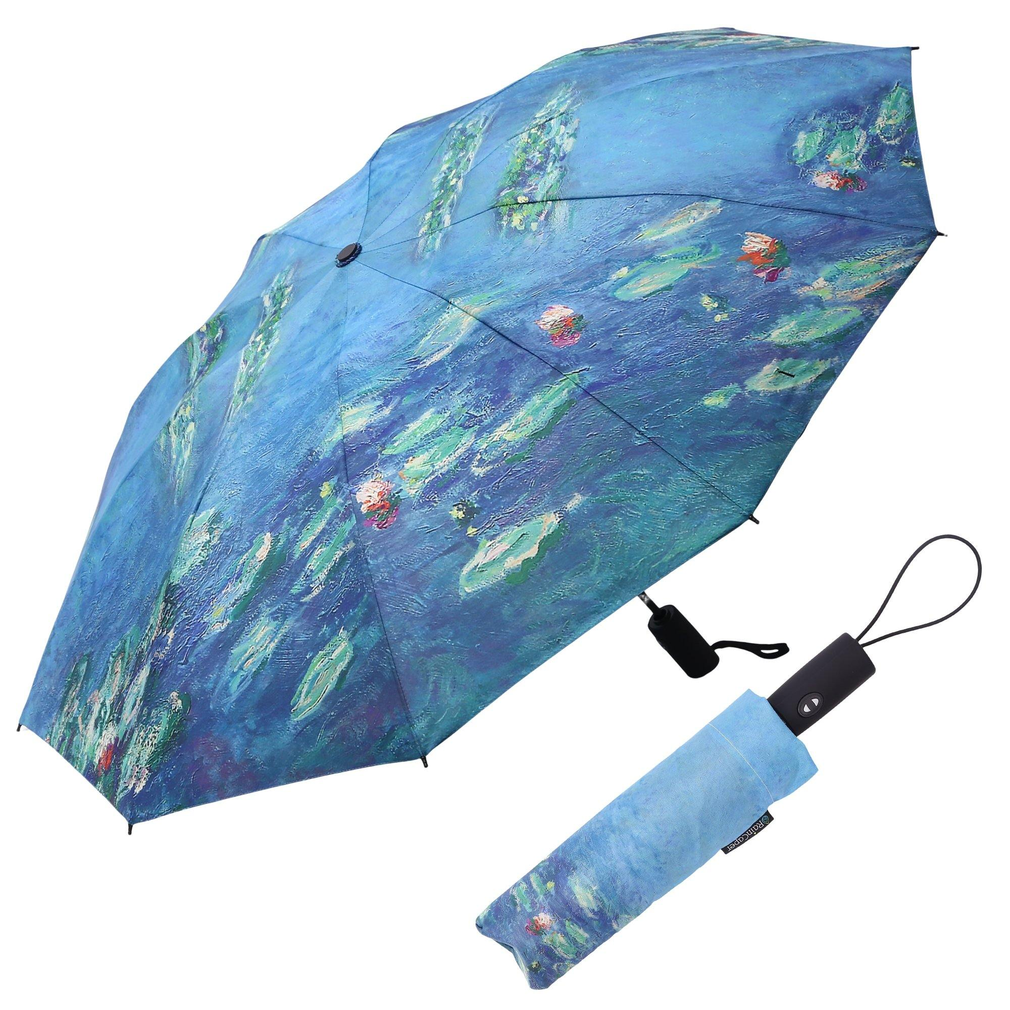 Image of a RainCaper Monet Water Lilies folded traveling umbrella shown both open and closed