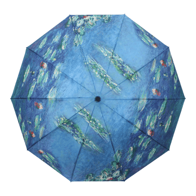 RainCaper Monet Water Lilies Folding Travel Umbrella