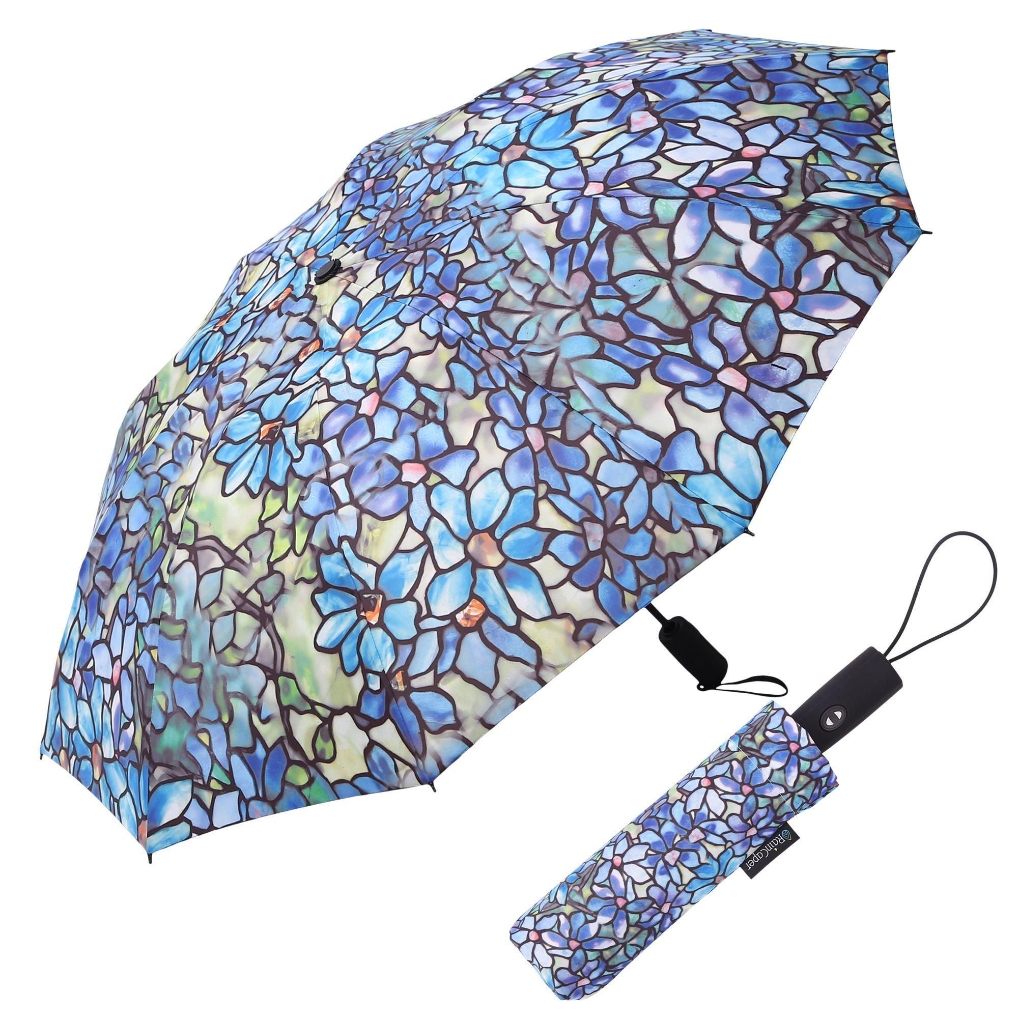 Image of a RainCaper Tiffany Clematis folded traveling umbrella shown both open and closed