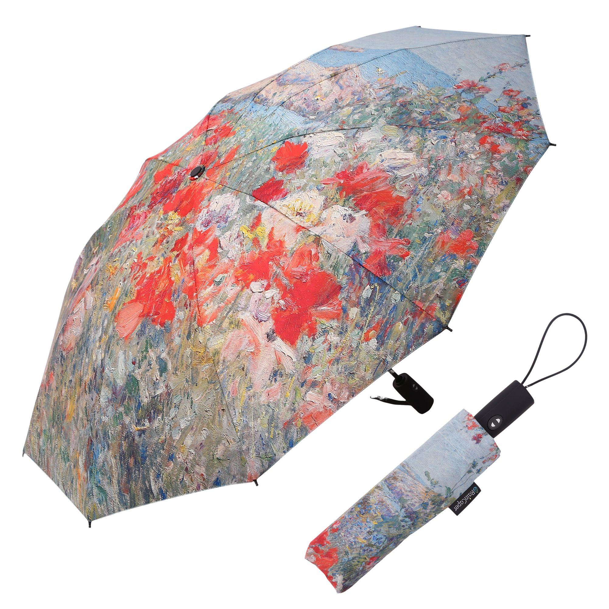 Image of a RainCaper Hassam Celia's Garden/Isles of Shoals folded traveling umbrella shown both open and closed