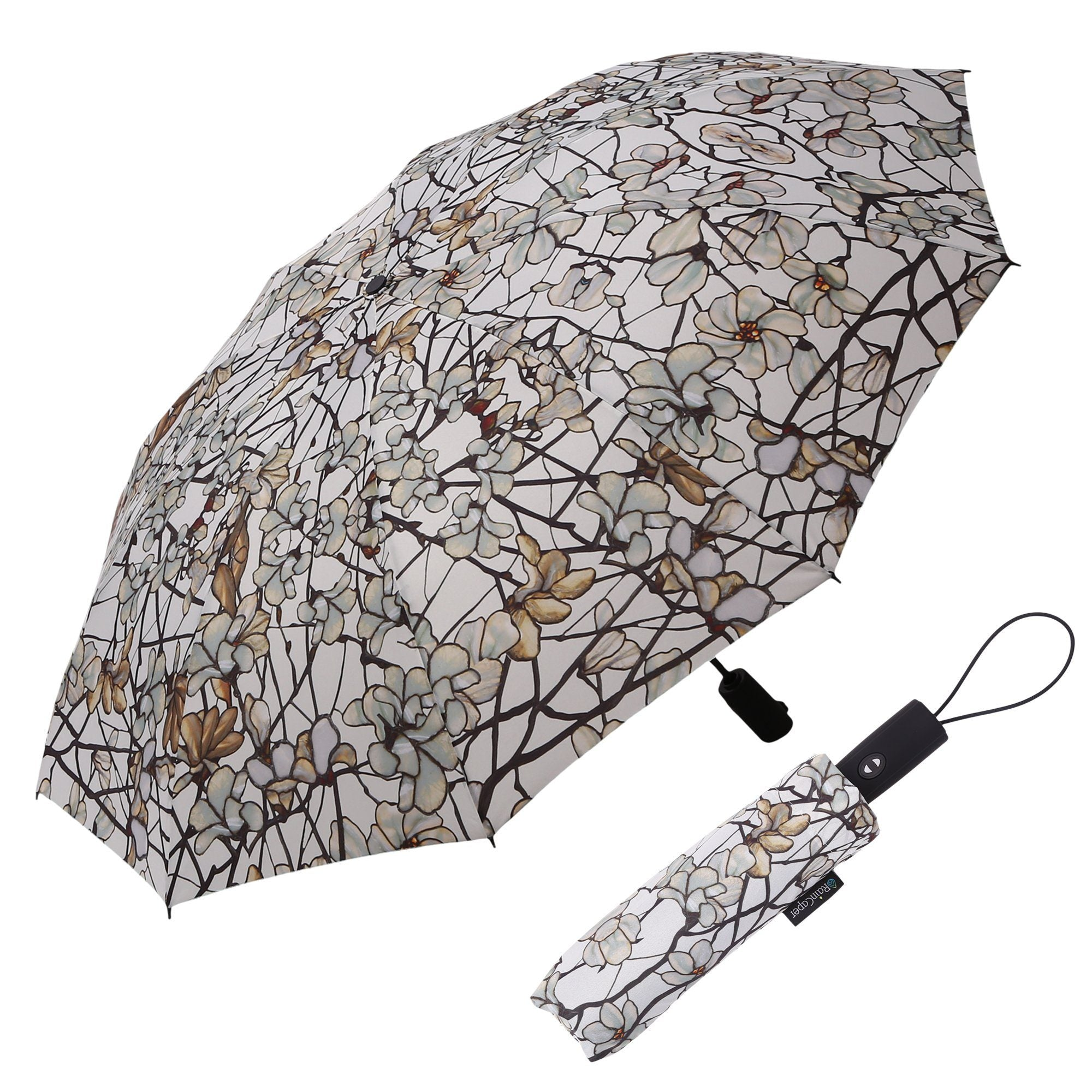 Image of a RainCaper Tiffany Magnolia folded traveling umbrella shown both open and closed