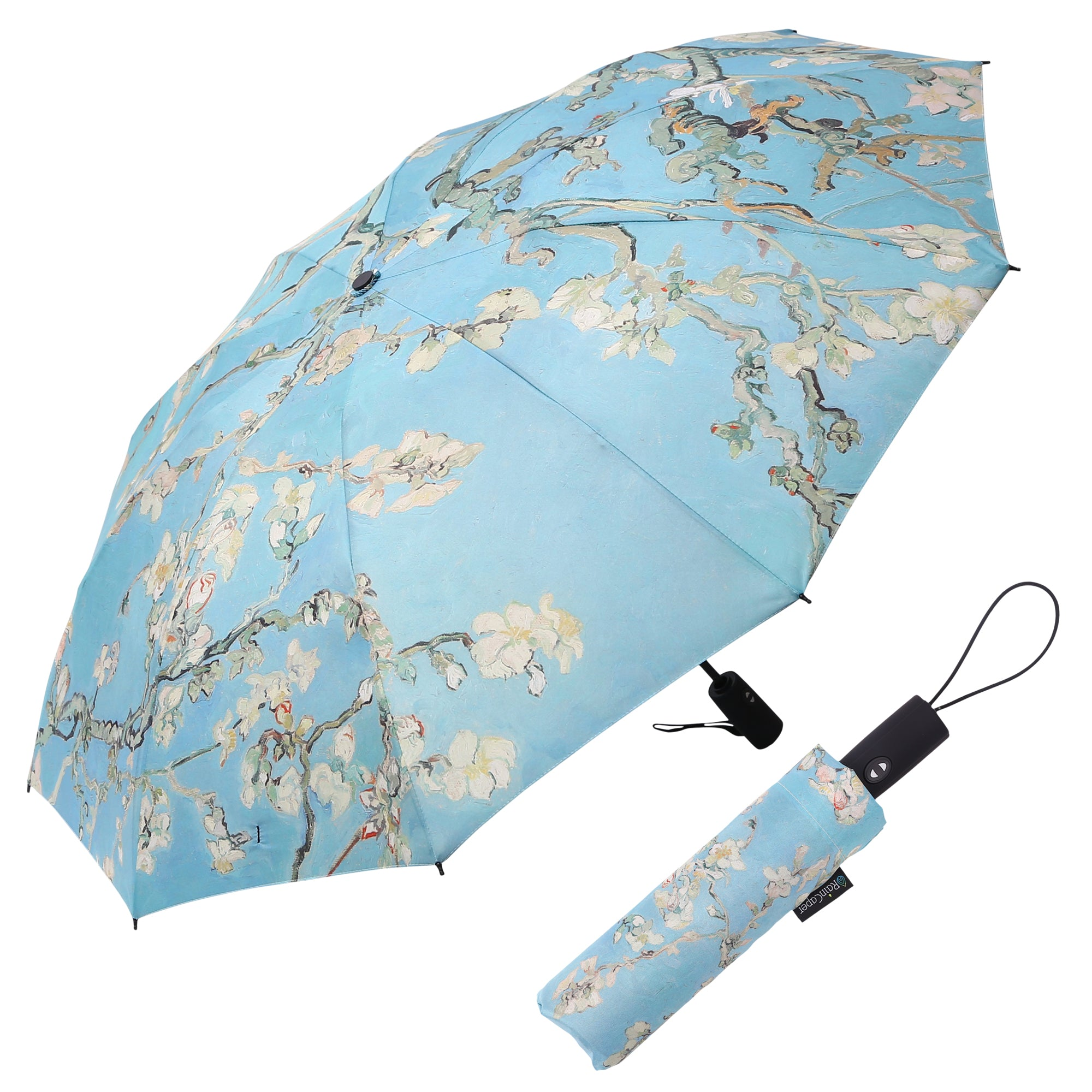 Image of a RainCaper van Gogh Almond Blossom folded traveling umbrella shown both open and closed