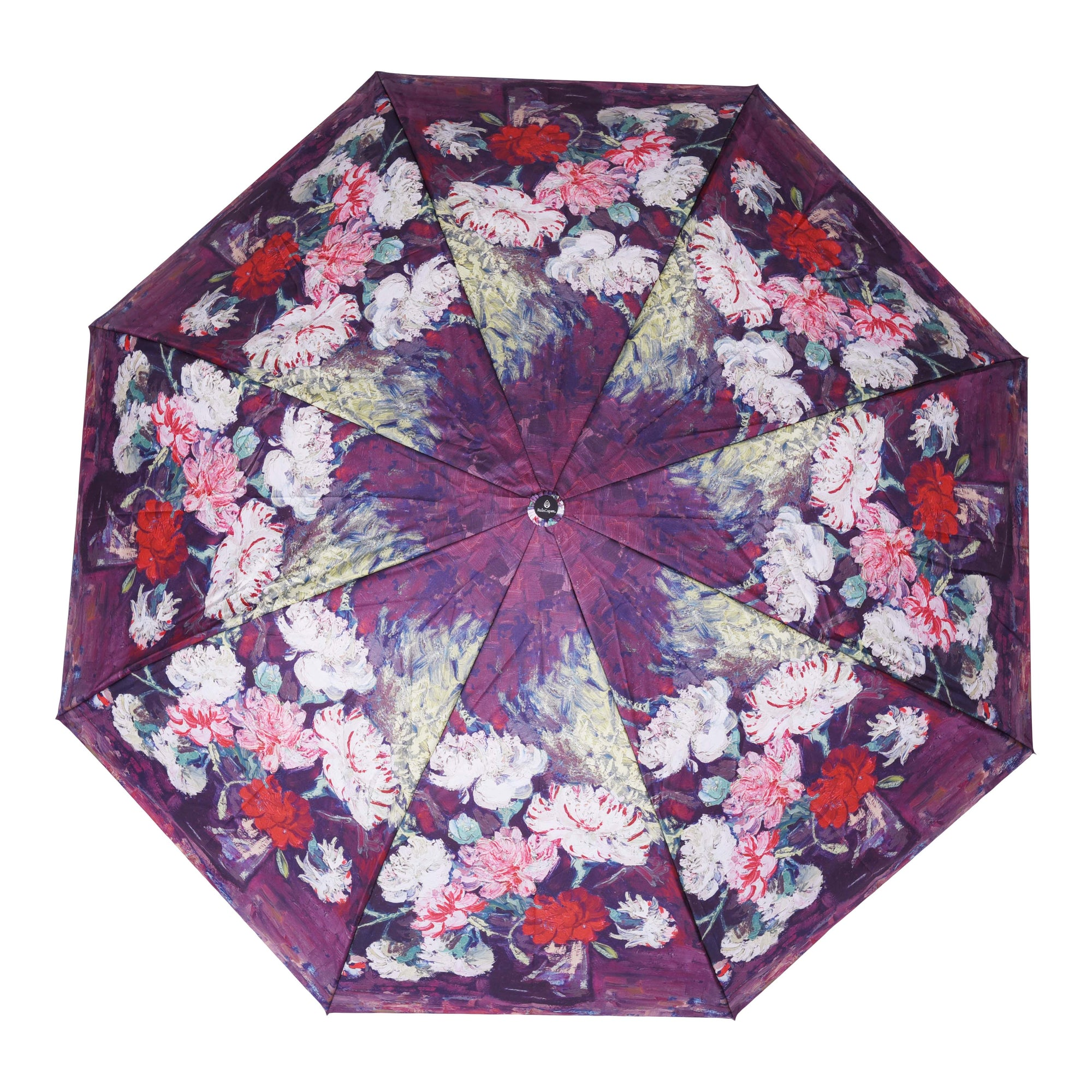 Image of a RainCaper van Gogh Carnations folded traveling umbrella shown both open and closed