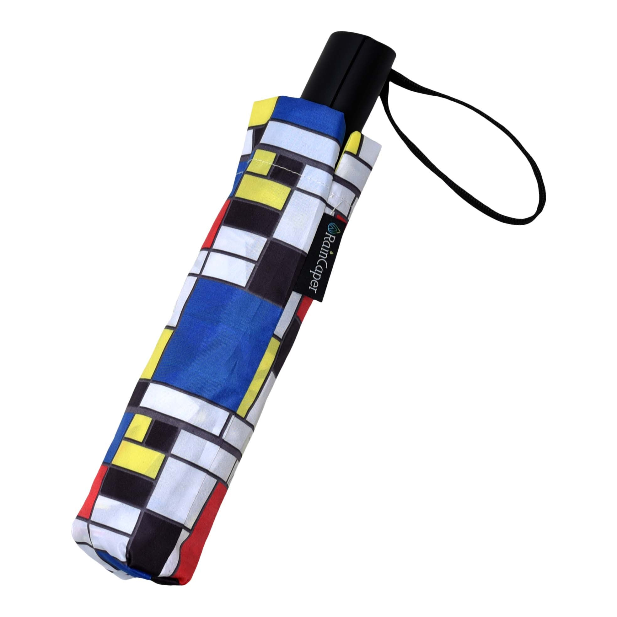 Image of a RainCaper Mondrian Composition II traveling umbrella shown both open and closed