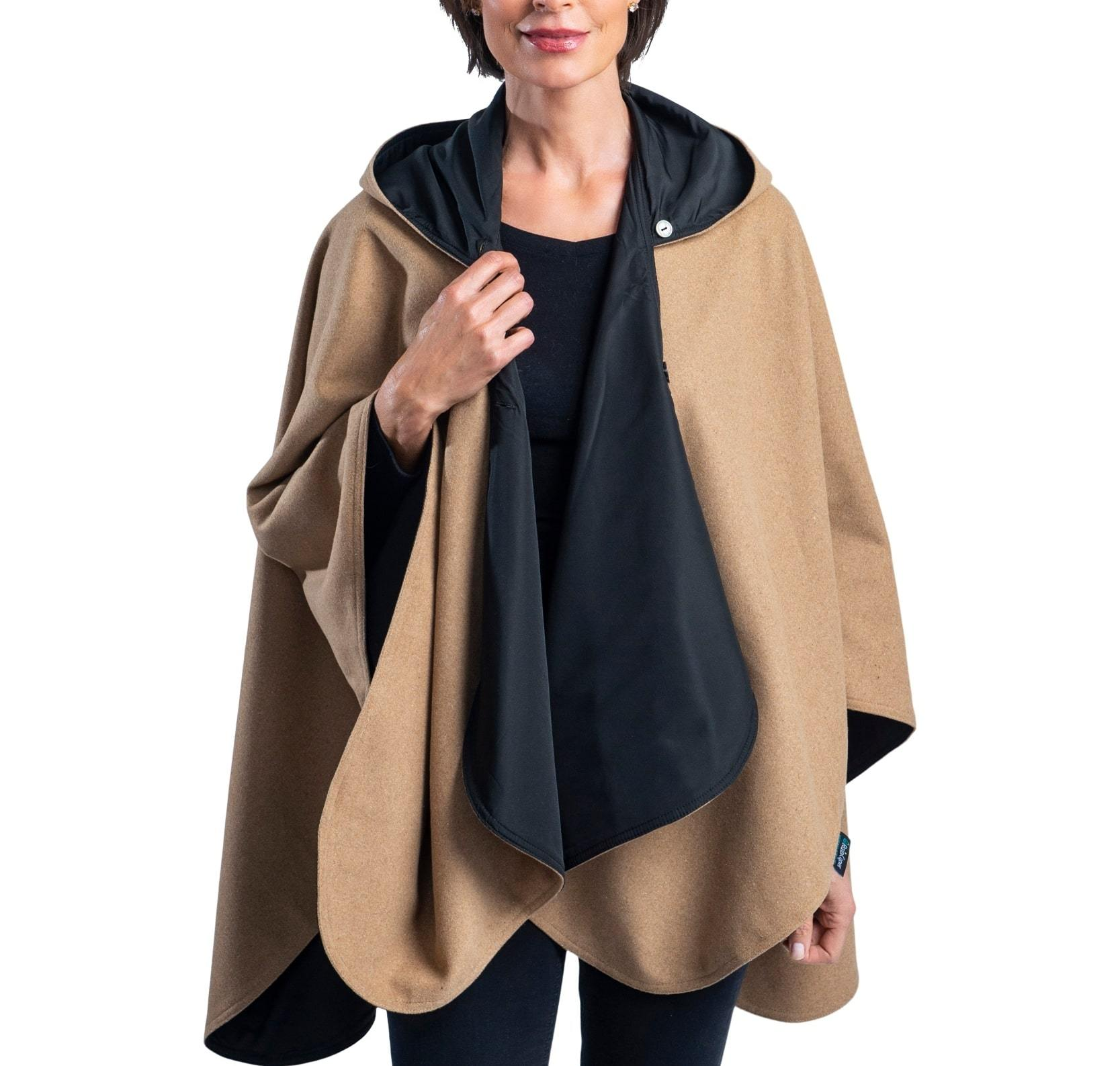 Woman wearing a WarmCaper Warm Camel/Black Rainproof and travel cape by RainCaper