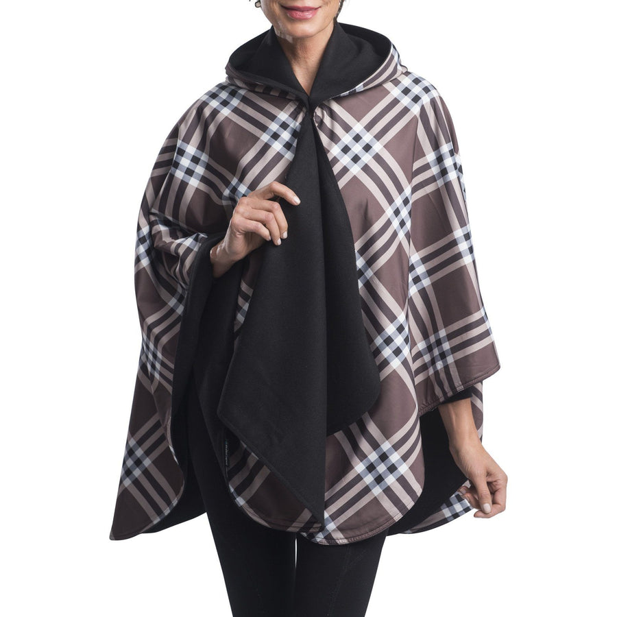 WarmCaper Reversible Rain Cape - Warm Black/Coco Plaid Rainproof