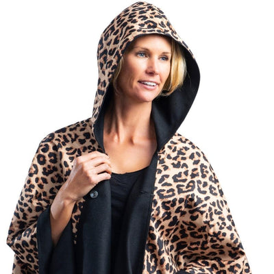 WarmCaper - Warm Black & Rainproof Leopard All-weather Cape