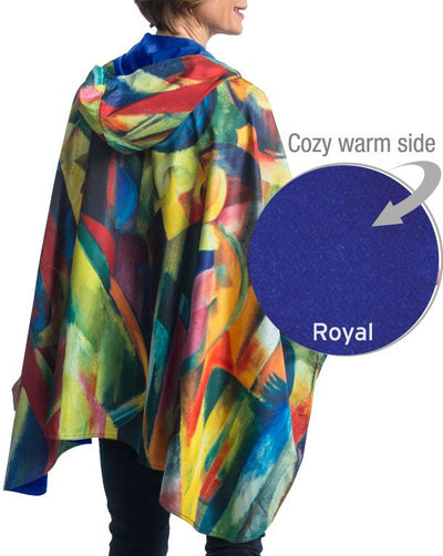 WarmCaper Reversible Rain Cape - Warm Royal/Franz Marc Stables Rainproof