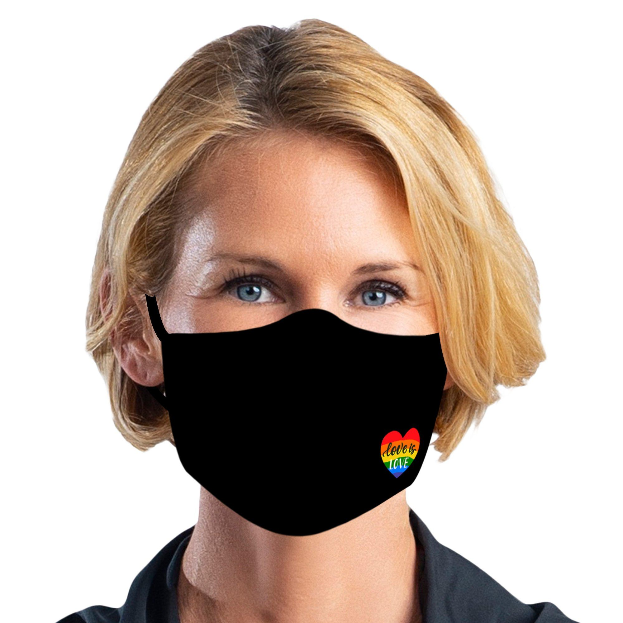 Woman wearing a RainCaper Love is LOVE printed reusable non-medical cloth face mask.
