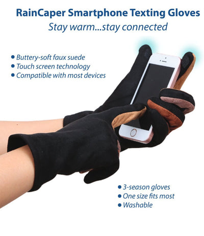 An infographic depicting the features and benefits of RainCaper smart phone texting gloves that allow you to stay warm and stay connected. The gloves have touch screen technology in the thumbs and index fingers. The washable gloves are compatible with most devices. One size fits most.
