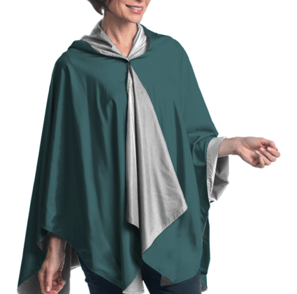 "SpiritCaper Midnight Green/Silver ""Go Eagles"" Wind & Rainproof Sport Cape"