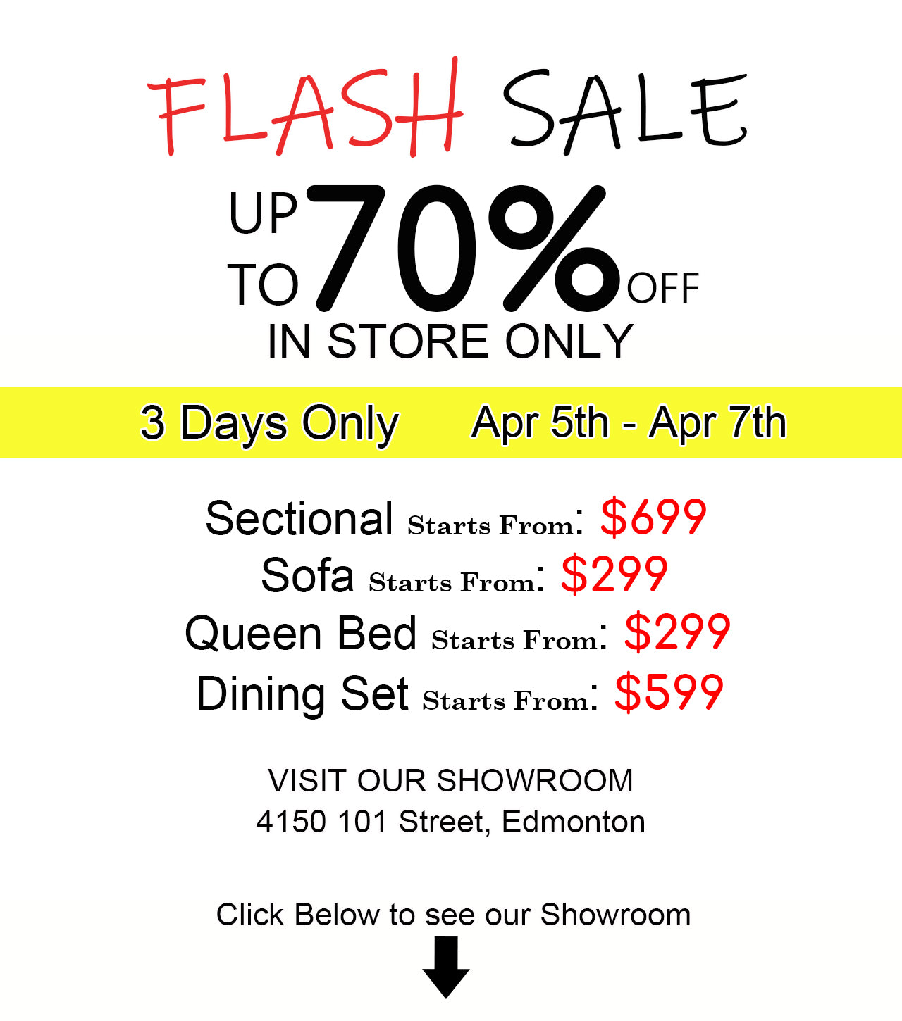 Edmonton YEG Furniture Flash Sale