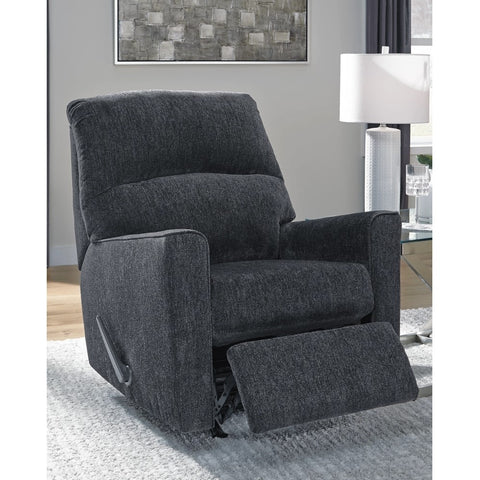 Edmonton Furniture Store | Slate Grey Fabric Rocker Recliner Chair - 872