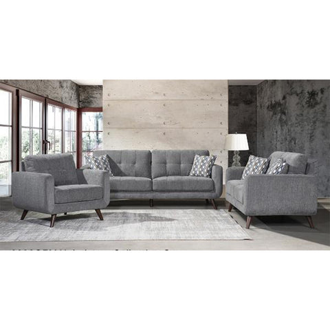 Edmonton Furniture Store | Contemporary Mid Century Modern Grey Fabric Sofa Loveseat - 9036