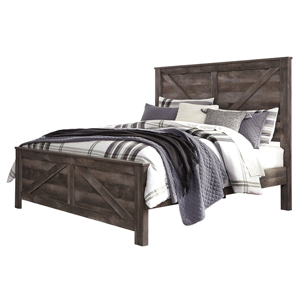 Edmonton Furniture Store | Rustic Gray Queen Cross Buck Panel Bed - B440