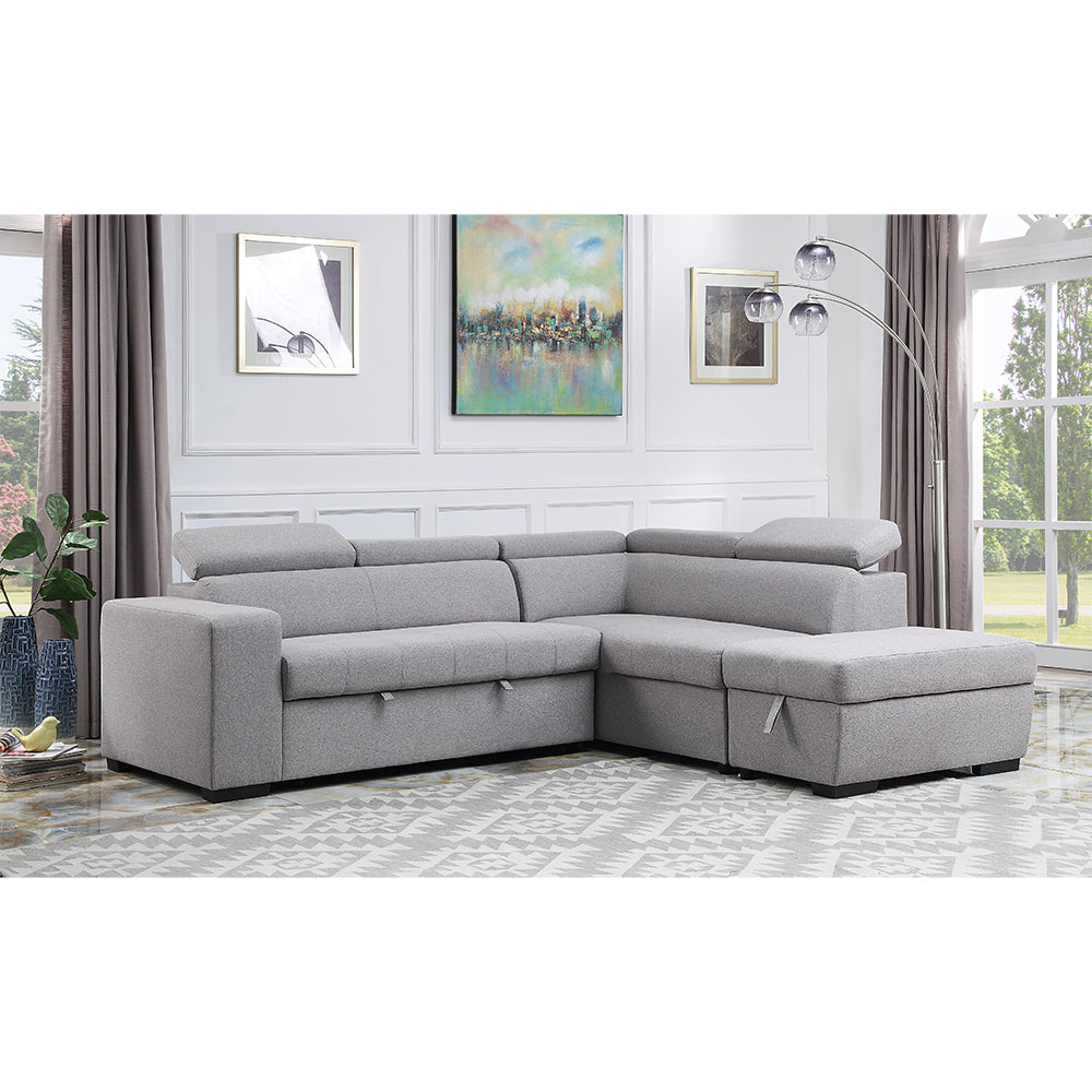 Contemporary Sectional w/ Pull Out Sofa Bed & Storage Ottoman - 96318