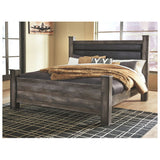 Edmonton Furniture Store | Rustic Gray Queen Upholstered Poster Bed - B440