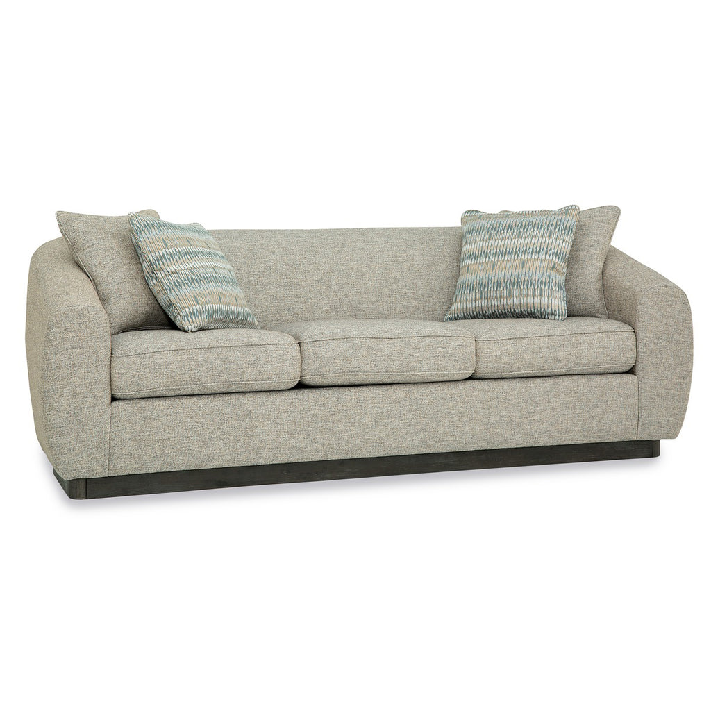 Palliser Custom Curved Arm Modern Sofa with Wood Base - Athena