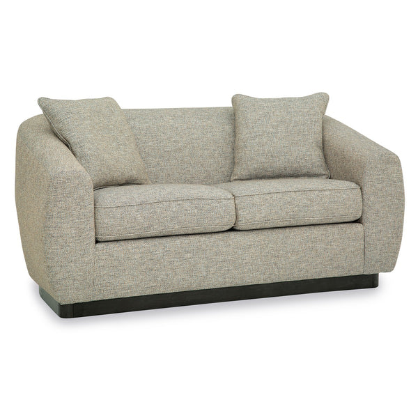 Palliser Custom Curved Arm Modern Loveseat with Wood Base - Athena