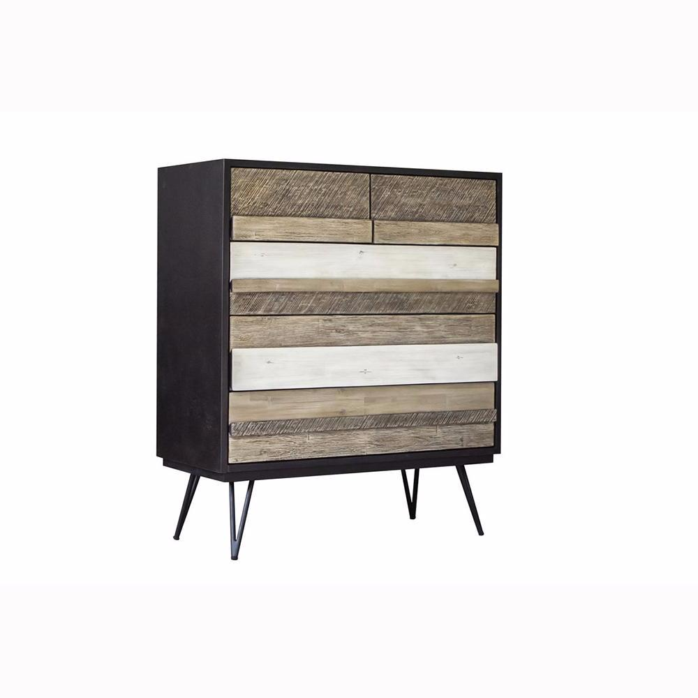 Modern Rustic 5 Drawer Chest - Noir Havana