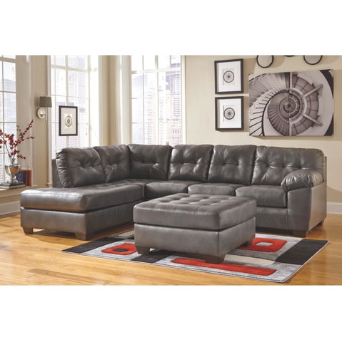Edmonton Furniture Store | LHF Grey Leather Looking Sectional - 201