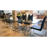 Rectangular Glass Top Dining Table with 4 Black Chairs - SEF2203 - Diamond