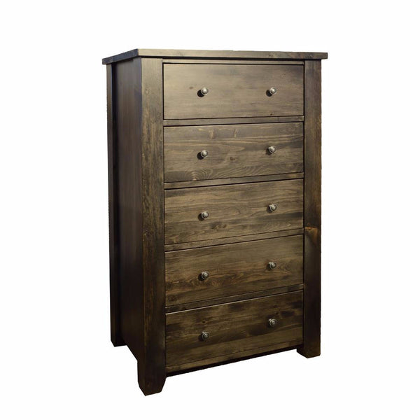 Solid Wood Canadian Made 5 Drawer Chest - Rough Sawn