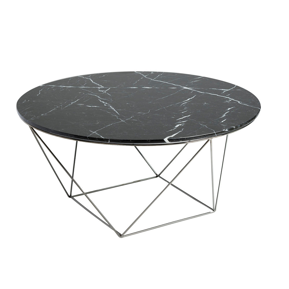 Marble Top Round Coffee Table w/ Polished Stainless Legs- Valencia