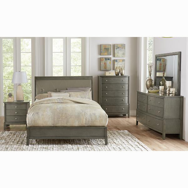 Edmonton Furniture Store | Contemporary Leatherette Upholstered Bedroom Set in Grey Finish - 1730
