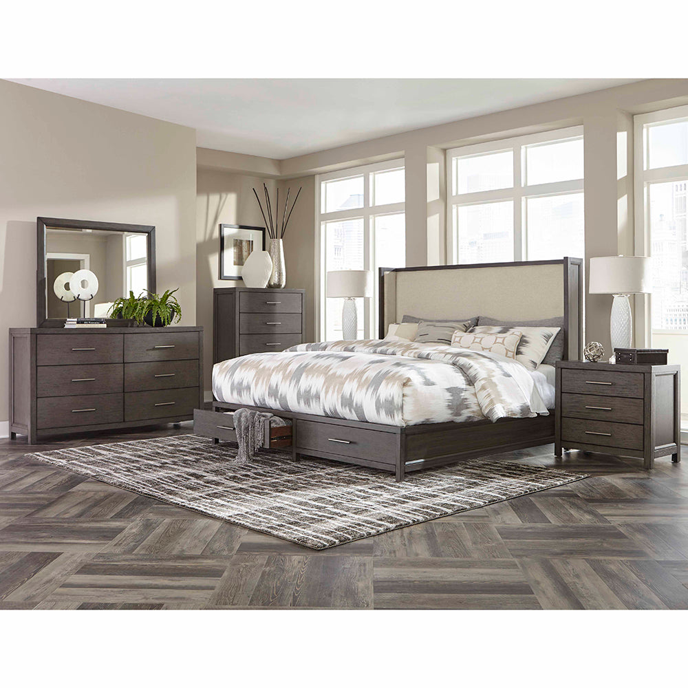 Wing Upholstered Storage Queen Bedroom Set  - 1788