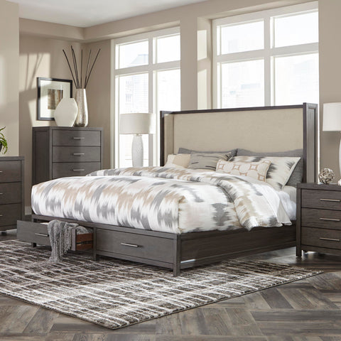 Wing Upholstered Storage King Bed  - 1788