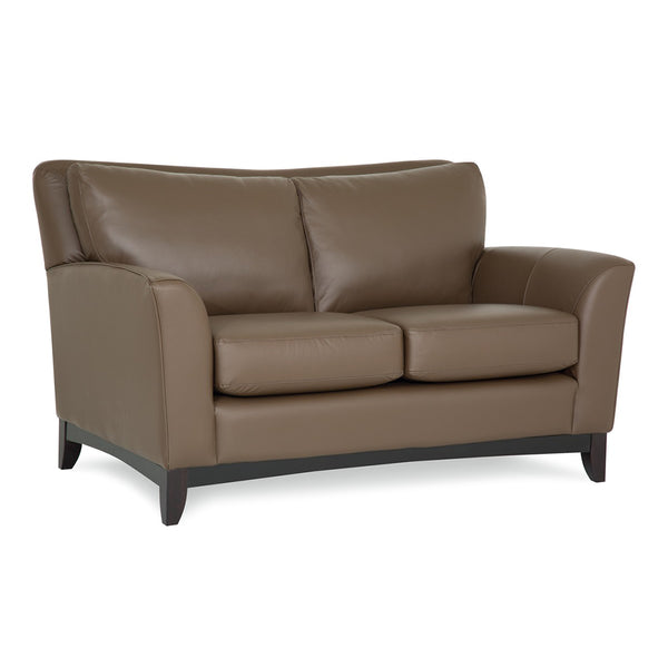 Palliser Custom Loveseat with Wood Base and Sweet Heart Back - India