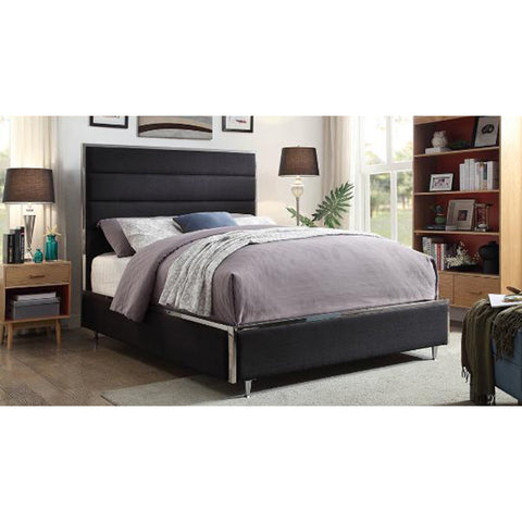Upholstered Black Queen Bed- 5828