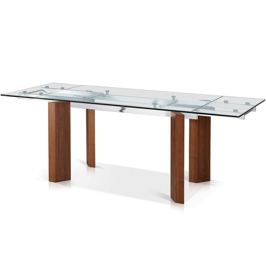 Rectangular glass top extension dining table - SEF30481