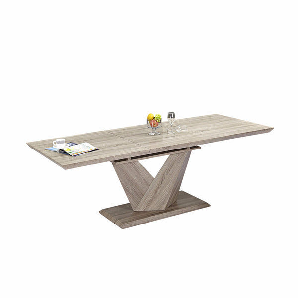 Washed Oak Self-storing Extension Table