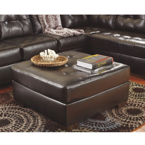 Edmonton Furniture Store | Chocolate Leather Looking Ottoman - 201