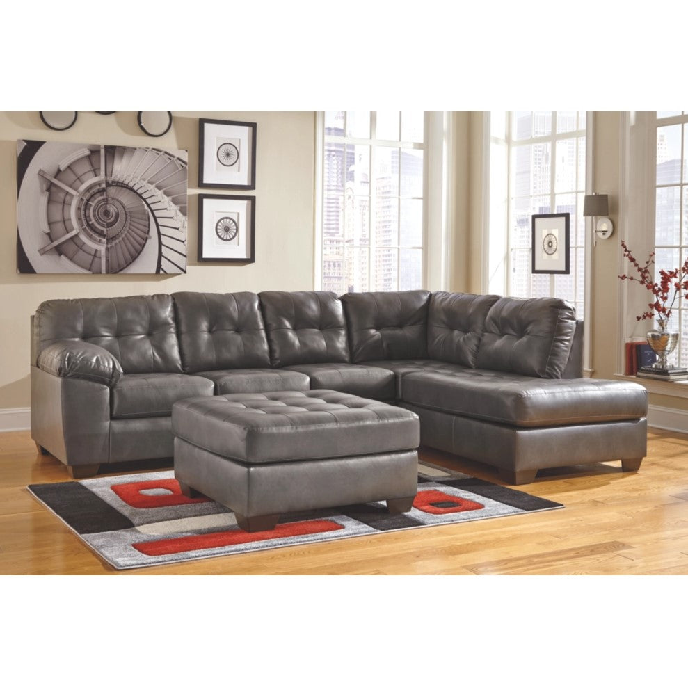 Edmonton Furniture Store | RHF Grey Leather Looking Sectional - 201