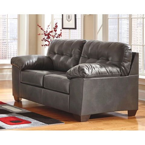 Edmonton Furniture Store | Grey Leather Looking Loveseat - 201