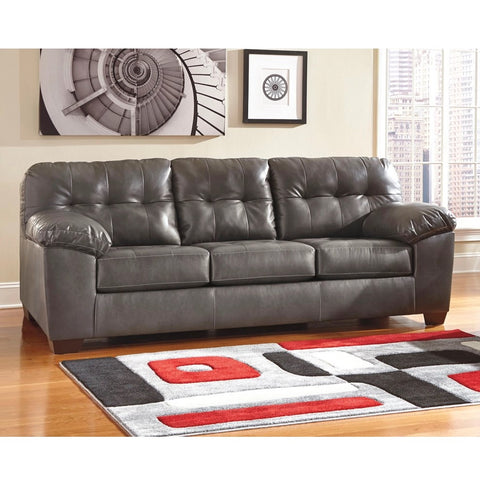 Edmonton Furniture Store | Grey Leather Looking Sofa - 201