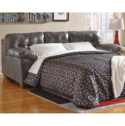 Edmonton Furniture Store | Grey Leather Looking Sofa Bed - 201