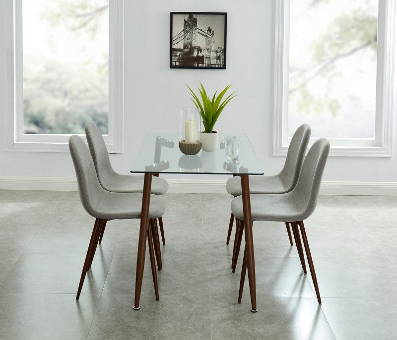 Edmonton Furniture Store | Walnut Mid-Century Design Glass Dining Table-Abbot