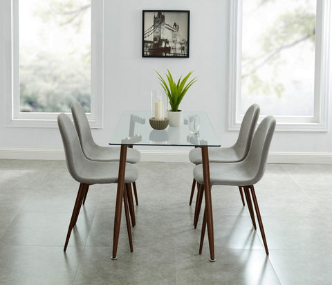 Edmonton Furniture Store | Mid-Century Design Condo Size Glass Dining Table in Walnut - Abbot