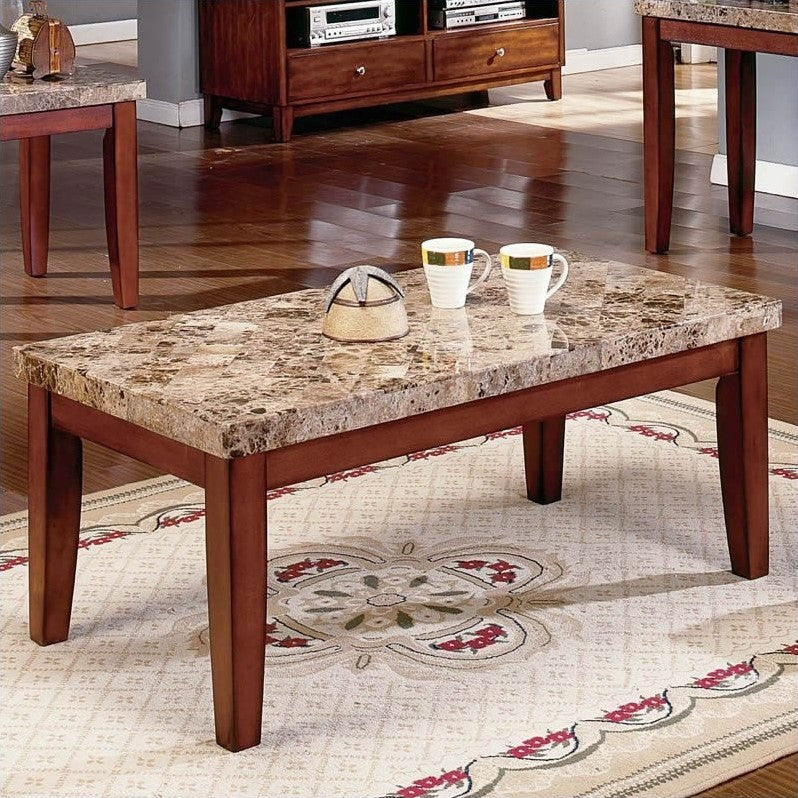 Real Marble Coffee Table In Brown Color